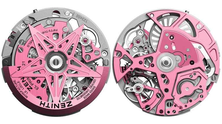 ZENITH「DEFY EL PRIMERO 21粉紅腕錶」搭載1/100秒計時機芯,自動盤和夾板皆經過特殊粉色塗飾,並以緞光加工。(圖╱ZENITH提供)