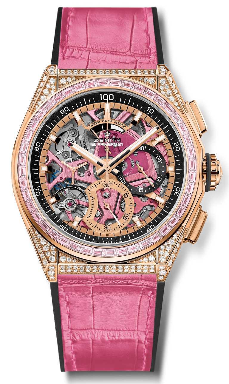 ZENITH「DEFY EL PRIMERO 21」粉紅腕錶,玫瑰金錶殼,El Primero 9004型自動上鏈機芯,42mm╱2,085,500元。(圖╱ZENITH提供)