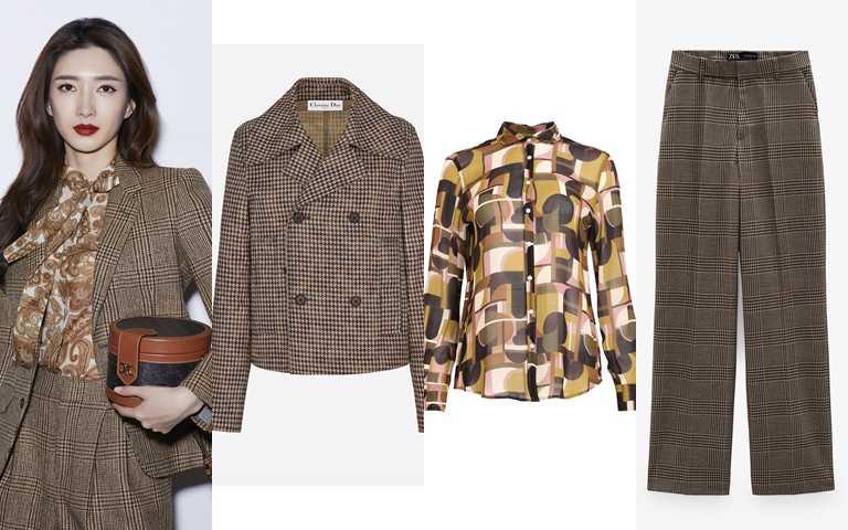 喜歡她的造型妳可以這樣搭。Dior海軍大衣/130,000元、glimmer boutique藝術風圖紋雪紡襯衫/10,800元、ZARA格紋直筒長褲/1,290元(圖/品牌提供)