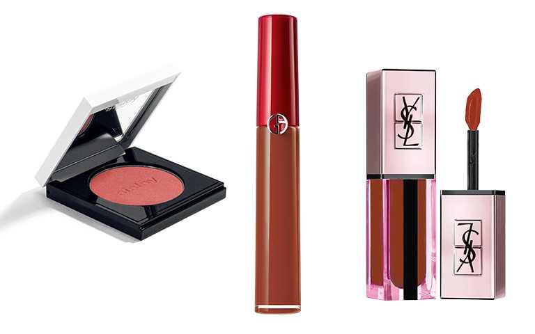 本來是秋季的經典代表色,但今年春季卻有許多品牌推出「銹褐色」彩妝。(圖/各品牌提供)