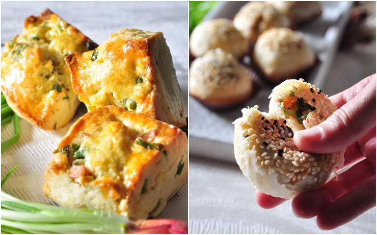 奶香珠蔥火腿司康(左)、金牌蘿蔔絲珠蔥酥餅。(圖/台北凱撒大飯店提供)