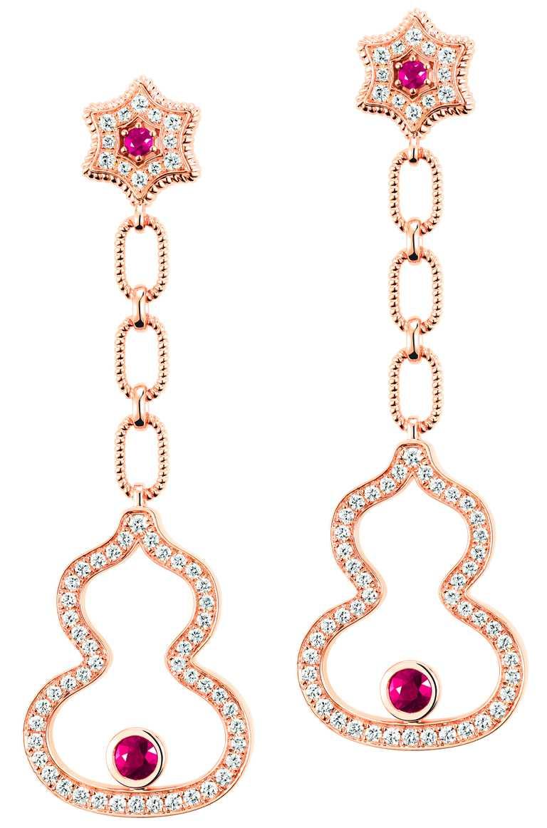 Qeelin「Wulu Legend」系列(高訂款),18K玫瑰金鑽石紅寶石耳環╱價格店洽。(圖╱Qeelin提供)