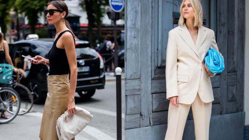 近期席捲社群的就是這款:Bottega Veneta The Pouch 雲朵包(右:Linda Tol於巴黎時裝周配帶The Pouch、左:Julie Pelipas於巴黎時裝周配帶The Pouch)