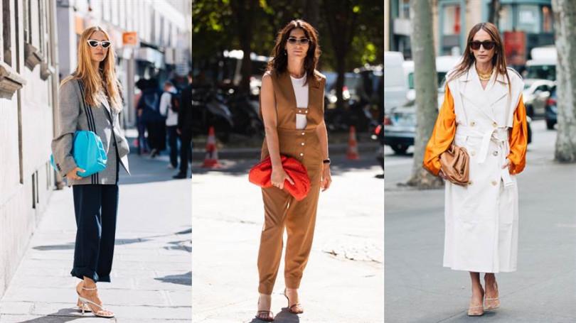 左:Pernille Teisbaek 於巴黎時裝周配帶The Pouch、中:Deborah Reyner 於巴黎時裝周配帶The Pouch 、右:Chloé Harrouche於巴黎時裝周配帶The Pouch