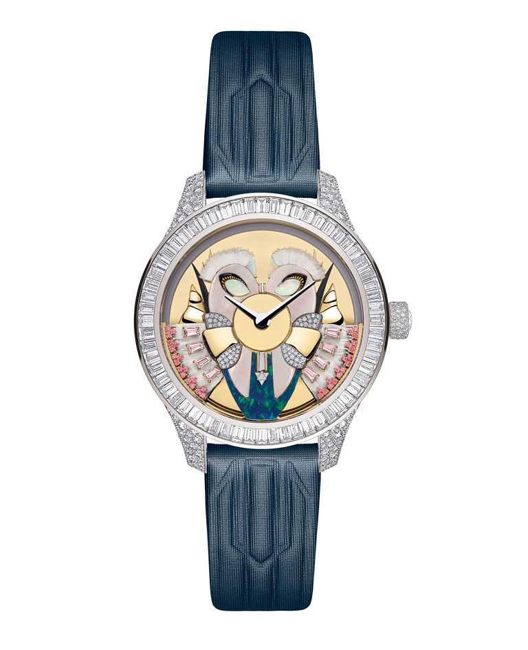 Dior「Grand Bal系列」Masqué面具腕錶N°8,18K白金雪花鑲鑽錶殼,限量1只╱8,600,000元。(圖╱Dior提供)