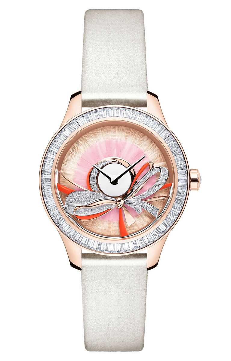 Dior「Grand Bal系列」Ruban蝴蝶結腕錶,18K玫瑰金錶殼,限量18只╱3,000,000元。(圖╱Dior提供)