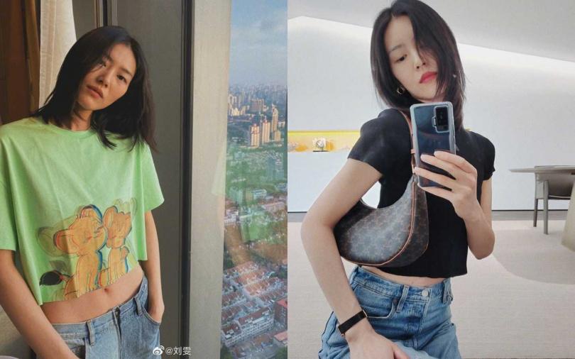 夏天可以學劉雯穿短版T恤,小露一下腰身曲線。(圖/翻攝自劉雯微博)