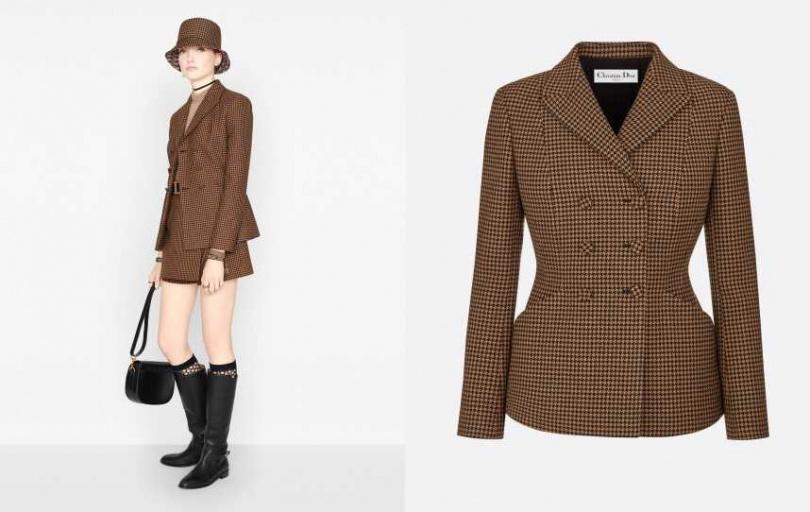 利用明顯的腰際線條,對比展現女性之美。DIOR 雙排釦BAR外套/155,00元(圖/品牌提供)