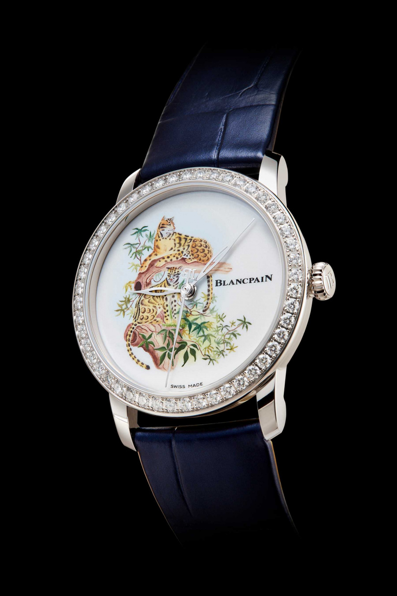 陶瓷微繪琺瑯工藝腕錶--台灣雲豹。