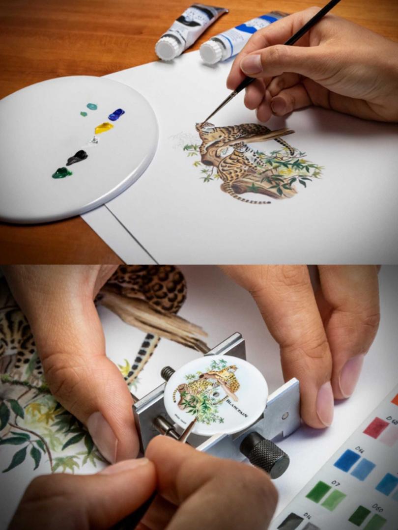 錶盤上的雲豹在工藝師的巧手下顯得生氣靈動,展現完美融合美學與工藝的感動。