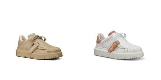左圖為「Dior-ID米色小牛皮休閒鞋」、左圖為「Dior-ID白色與粉色小牛皮休閒鞋」。
