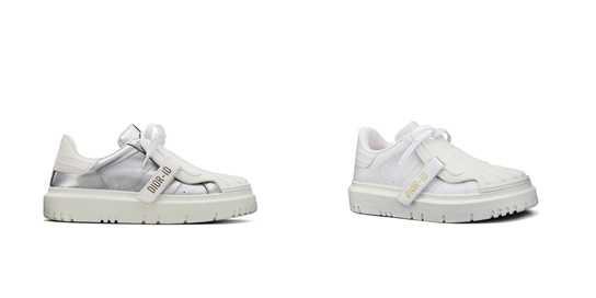 左圖為「Dior-ID金屬銀色小牛皮休閒鞋」、左圖為「Dior-ID白色小牛皮休閒鞋」。