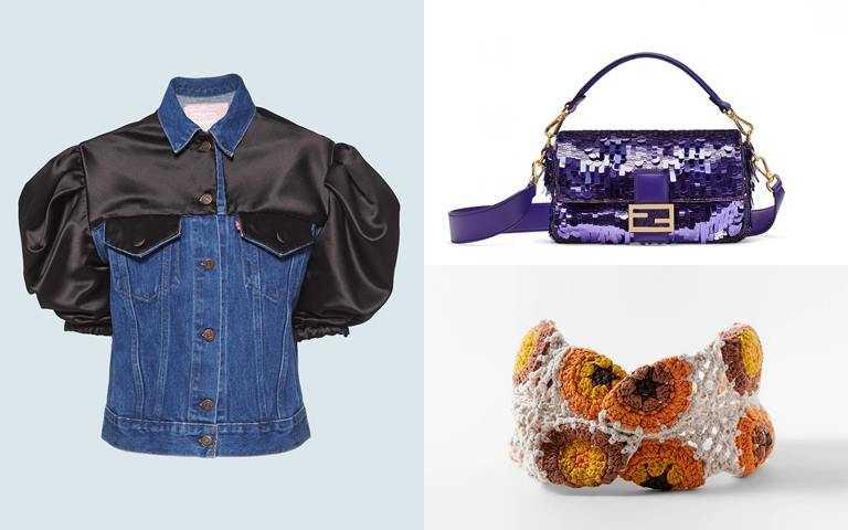 圖2/這些都很推薦>>Upcycled by Miu Miu*Levi's®合作系列緞面公主袖牛仔外套/76,000元、FENDI Baguette系列紫色亮片包款/132,000元、ZARA鉤編髮帶/650元(圖/品牌提供)