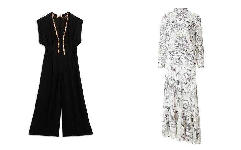 圖5/這些都很推薦>>AllSaints Taya印花兩件式長版連身裙/16,900元、Sandro黑色金鍊連身褲/16,000元(圖/品牌提供)