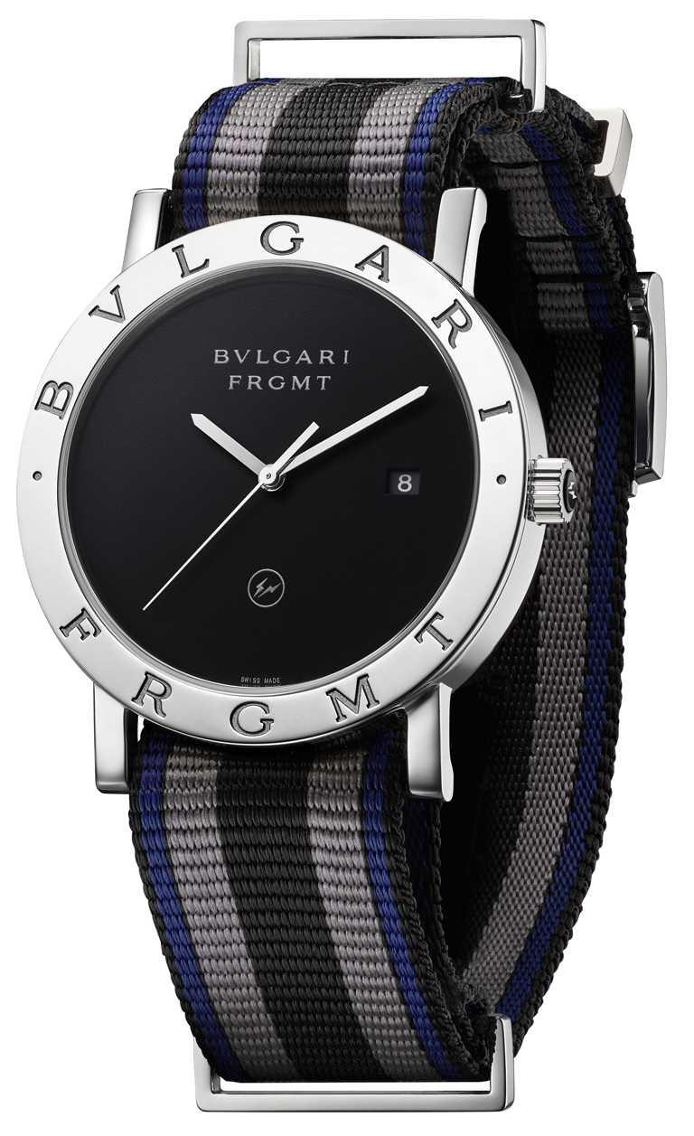 BVLGARI「BVLGARI BVLGARI」系列,Fragment Fujiwara #2 Edition藤原浩聯名日本限量版腕錶,41mm,精鋼錶殼,BVL 191 Solotempo Caliber機芯,全球限量600只╱150,600元。(圖╱BVLGARI提供)