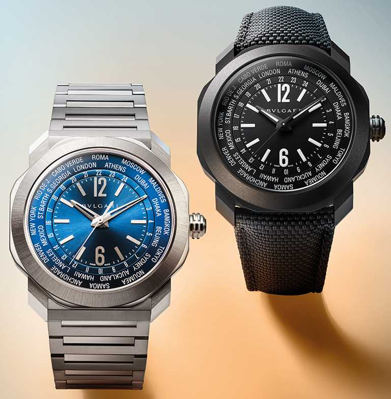 BVLGARI「Octo Roma WorldTimer」世界時區腕錶,(左)精鋼款,緞面拋光鋼製錶帶╱261,500元;(右)DLC類鑽碳款,黑色織紋橡膠錶帶╱261,500元。(圖╱BVLGARI提供)
