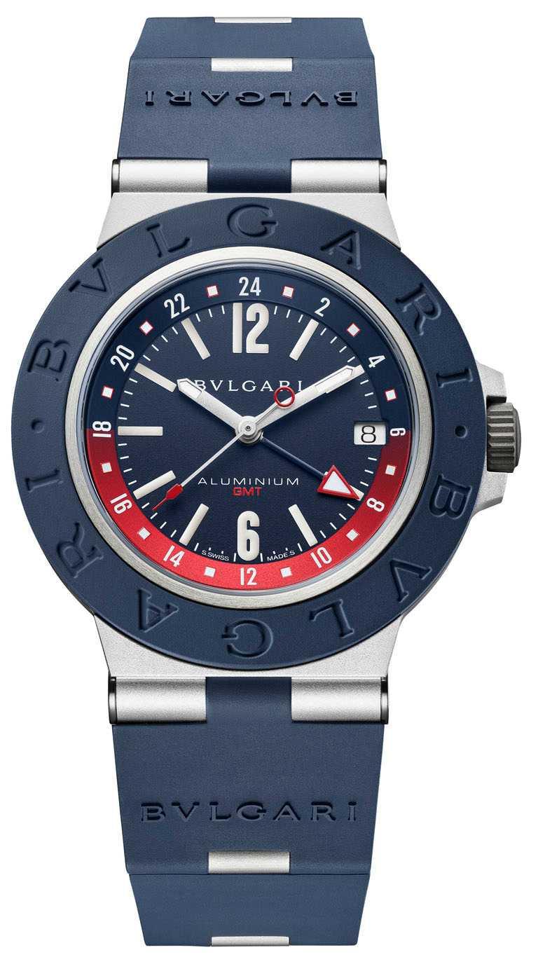 BVLGARI「Aluminium GMT」超薄計時兩地時區腕錶,40mm,鋁合金錶殼,B192自動上鍊機芯╱108,600元。(圖╱BVLGARI提供)