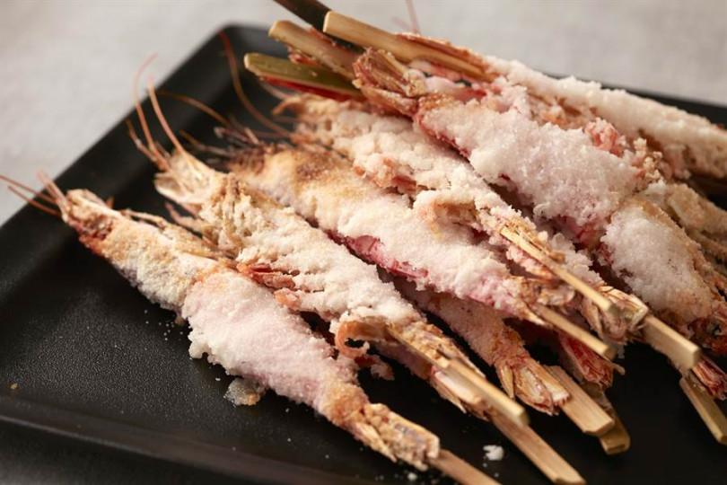 鹽烤天使紅蝦。