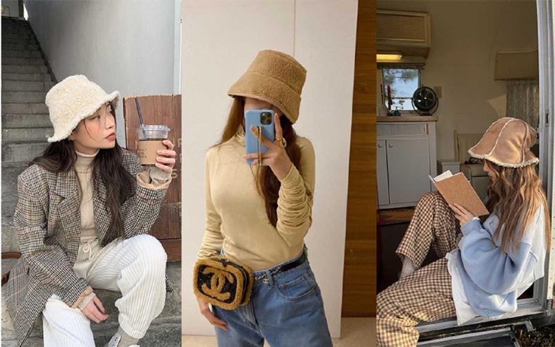 基本款毛毛漁夫帽最推薦本季入手一頂,輕鬆變身時髦韓妞。【圖/STYLENANDA,hyominnn IG】