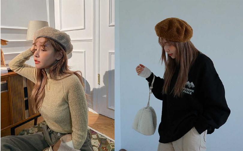 選土色系貝蕾帽要注意,避免選跟膚色太接近的顏色。【圖/STYLENANDA】