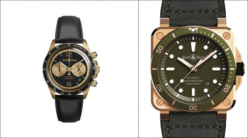BELL & ROSS(左)BR V2-94 Belltanker Bronze,錶殼:青銅材質/錶徑41mm,機芯:301自動上鍊/振頻每小時28,800次/儲能42小時,功能:小三針/日期/計時,防水:100米,其他:限量999只,定價:176,000元。(右)BR03 Diver Green Bronze,錶殼:青銅材質/錶徑42mm,機芯:302自動上鍊/振頻每小時28,800次/儲能38小時,功能:大三針/日期,防水:300米,其他:限量999只,定價:139,000元。