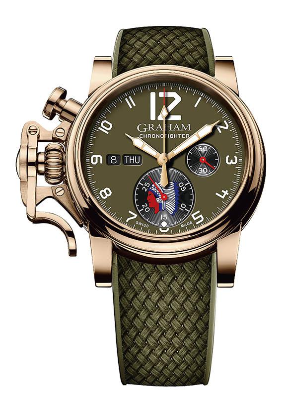 GRAHAM Chronofighter Vintage Overlord,錶殼:青銅材質/錶徑42mm/陶瓷錶圈,機芯:G1747自動上鍊/振頻每小時28,800次/儲能48小時,功能:小三針/日期/計時,防水:100米,其他:限量75只,定價:248,000元。