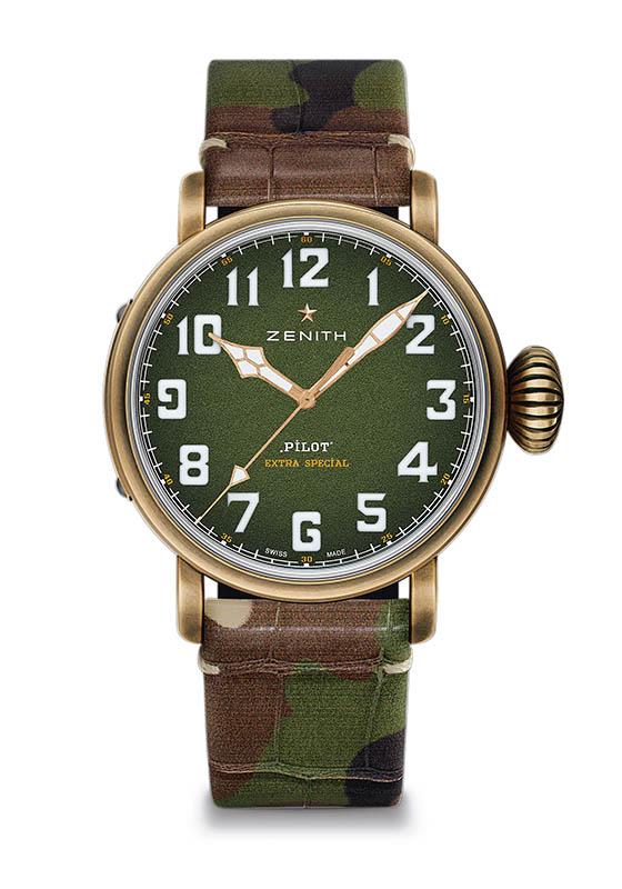 ZENITH Pilot Type 20 Adventure,錶殼:青銅材質/錶徑45mm,機芯:Elite 679自動上鍊/振頻每小時28,800次/儲能50小時,功能:大三針,防水:100米,定價:248,300元。