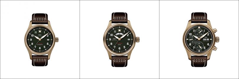 "IWC(左)Pilot's Watch Automatic Spitfire,錶殼:青銅材質/錶徑39mm,機芯:32110自動上鍊/振頻每小時28,800次/儲能72小時,功能:大三針/日期,防水:60米,定價:167,000元。(中)Pilot's Watch UTC Spitfire ""MJ 271"",錶殼:青銅材質/錶徑41mm,機芯:82710自動上鍊/振頻每小時28,800次/儲能70小時,功能:大三針/日期/第二地時間,防水:60米,其他:限量271只,定價:304,000元。(右)Pilot's Watch Chronograph Spitfire Bronze,錶殼:青銅材質/錶徑41mm,機芯:69380自動上鍊/振頻每小時28,800次/儲能46小時,功能:小三針/日期及星期/計時,防水:60米,定價:211,000元。"
