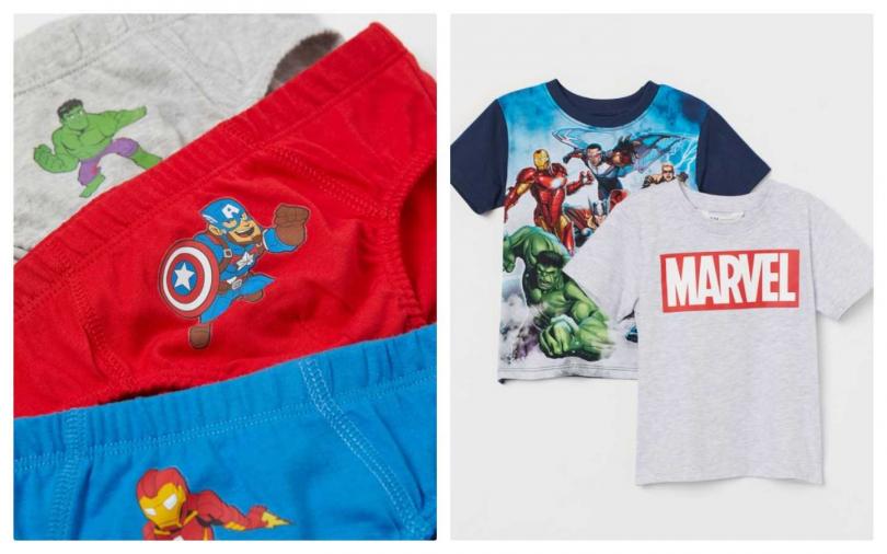 Marvel X H&M 漫威童裝聯名系列內褲與短袖T恤(左)內褲一組399元、(右)每件499元