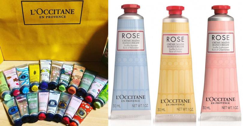 L'OCCITANE恬靜玫瑰護手霜、L'OCCITANE活力玫瑰護手霜、L'OCCITANE歡沁玫瑰護手霜 各30ml/400元  每年都會出很多限量款護手霜的歐舒丹,今年引起女孩們爭相收藏的就是這3款不同的玫瑰香味。(圖/IG@hitomizuogu、品牌提供)