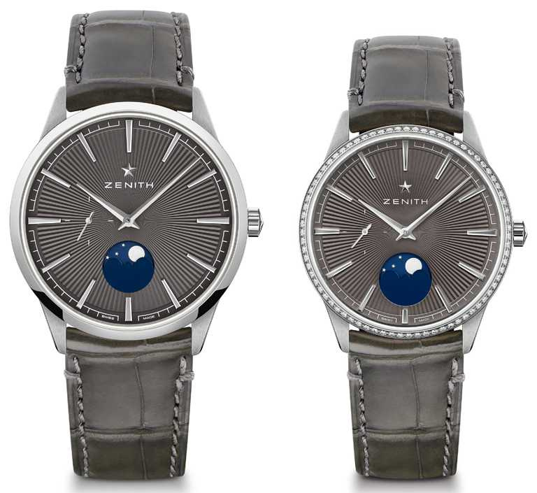 ZENITH「ELITE系列」月相對錶,精鋼錶殼,岩灰色錶盤╱(左)221,700元;(右)286,000元。(圖╱ZENITH提供)