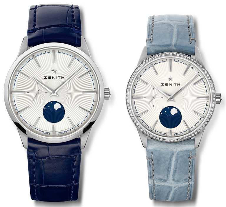 ZENITH「ELITE系列」月相對錶,精鋼錶殼╱(左)221,700元;(右)286,000元。(圖╱ZENITH提供)