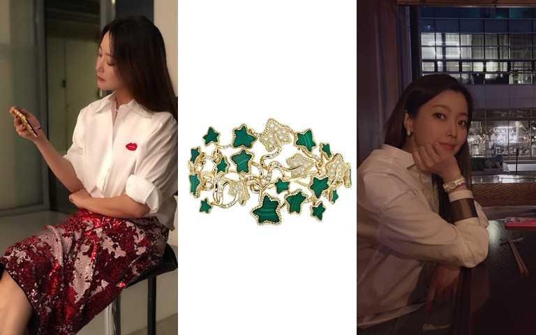 Dior Leaves of Love黃K金孔雀石手環/2,100,000元(圖/翻攝金喜善IG、品牌提供)