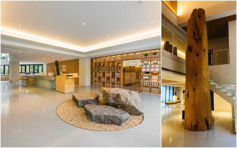 矗立於一樓大廳的台灣紅檜「花水木」。(圖/呆水溫泉提供)