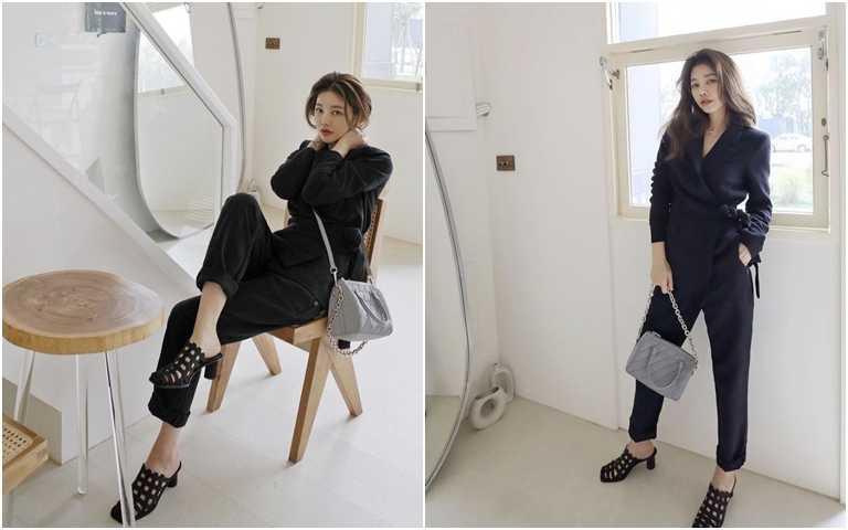 想要有氣勢時,黑色套裝絕對不能少,但可以偷偷利用比較有設計感的鞋包配件,讓造型一樣能保有流行元素,不怕被說是阿姨XD。(圖/翻攝許路兒IG)