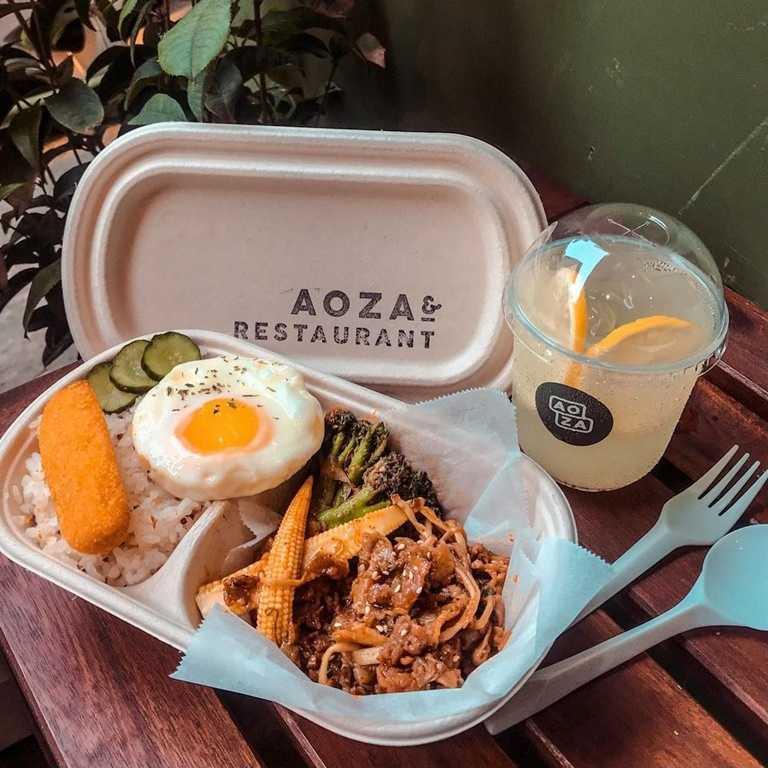 台中草悟道多家店家都推出外帶服務,圖為 「AOZA」 特製韓醬炒金滑牛。