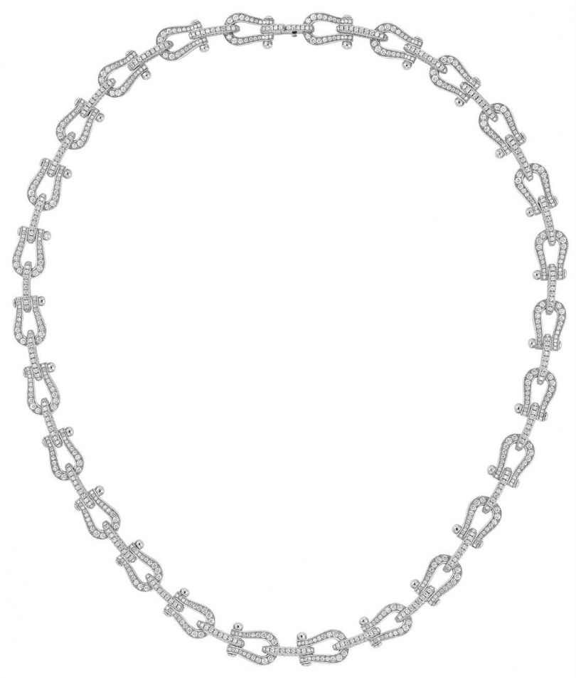 FRED「Force 10」系列高級珠寶,白金鑲鑽項鍊╱1,830,900元。(圖╱FRED提供)