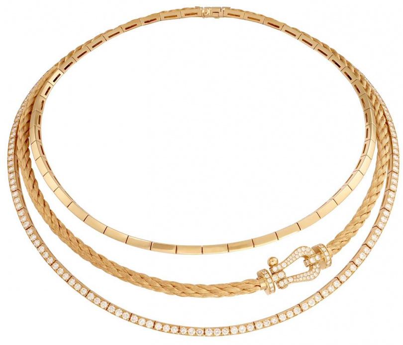 FRED「Force 10」系列高級珠寶,黃K金鑲鑽三環項鍊╱1,729,600元。(圖╱FRED提供)