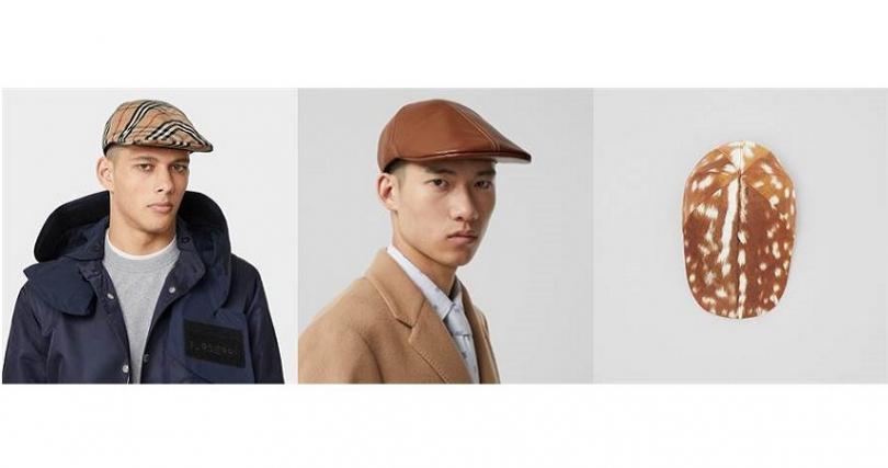 左為Vintage格紋棉質平頂帽13,200元,中為羔羊皮平頂帽13,200元,右為鹿紋尼龍平頂帽13,200元。(圖/Burberry提供)