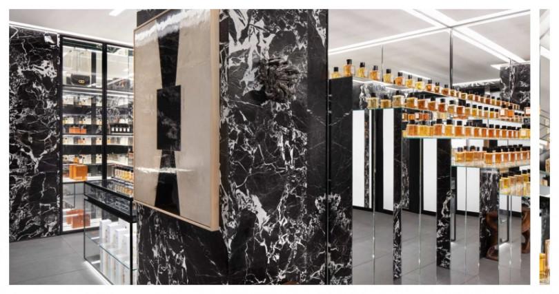 大理石花紋牆面和藝術家創作,增添藝術氣息。(圖/品牌提供)