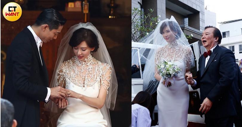 志玲姐姐世紀婚禮的珍珠披肩典雅又有氣勢,完全展現名模時尚。(圖/彭子桓攝)