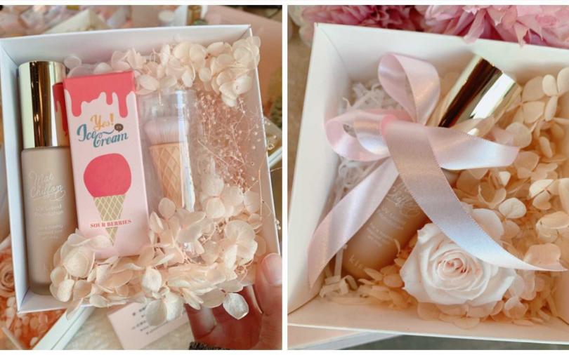 如果妳有預算限制的話,也有粉底液+永生花盒或是粉底液+LSY林三益酸酸莓果冰淇淋粉底刷的禮盒,同樣都很美。(圖/吳雅鈴攝影)