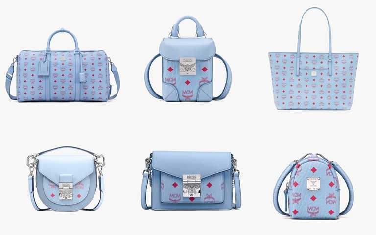 Blue Bell風鈴藍系列以輕柔粉嫩的天藍色為基礎色調,展現春季浪漫可愛的時尚氣質。(圖/MCM)