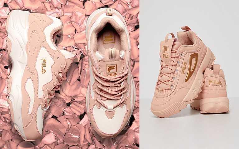 FILA 2020母親節奢華時尚玫瑰金限定紀念鞋款DISRUPTOR II ROSE、RAY TRACER ROSE/每雙各NT3,280 (圖/FILA提供)