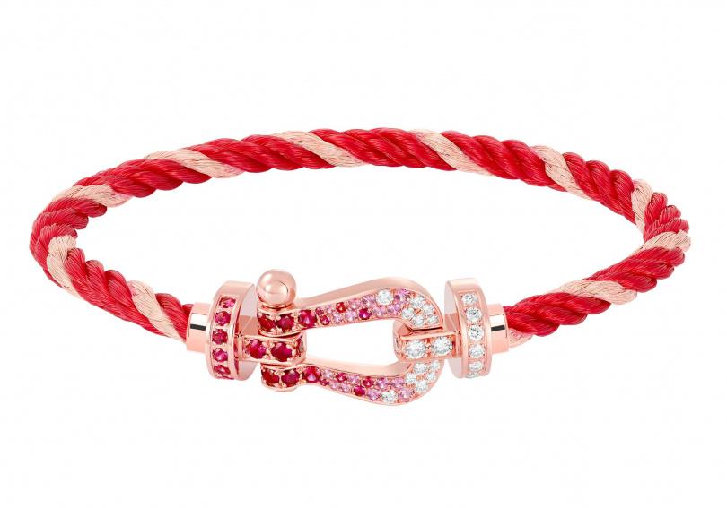FRED「Force 10Emblem」玫瑰金鍊釦,鑲嵌寶石雙色纜繩手鍊╱價格店洽。(圖╱FRED提供)