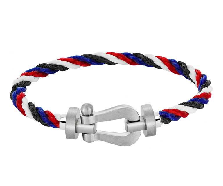FRED「Force 10Emblem」白金鍊釦,紅白藍黑四色纜繩手鍊╱88,800元。(圖╱FRED提供)