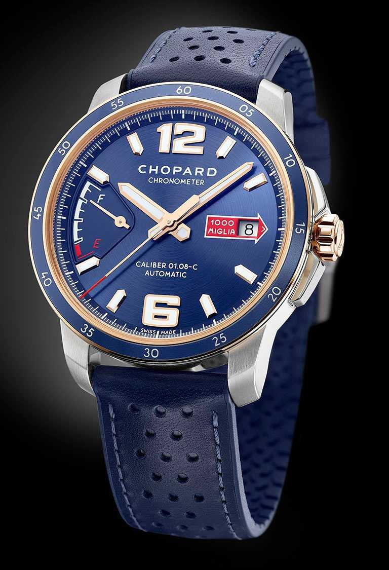 CHOPARD「Mille Miglia GTS Azzurro Power Control腕錶」,精鋼、18K玫瑰金錶殼,43mm,限量500只╱343,000元。(圖╱CHOPARD提供)