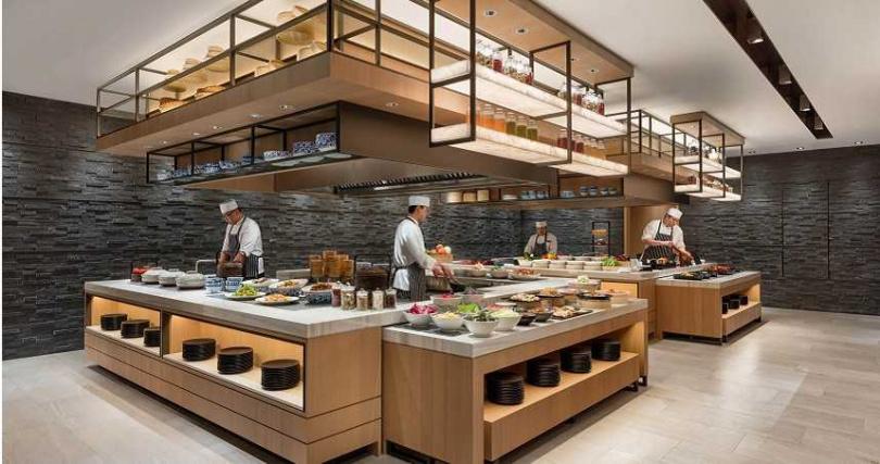 MJ Kitchen自助餐檯。(圖/台北國泰萬怡酒店提供)