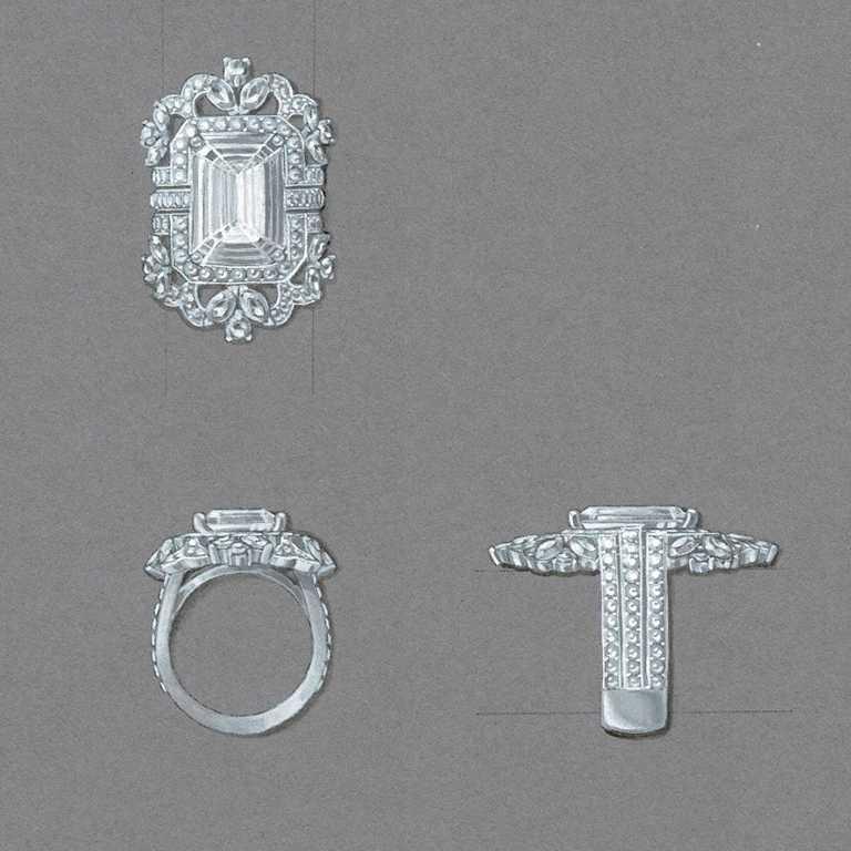 DE BEERS高級珠寶訂製設計草圖,以「The 1888 Master Diamonds」系列中的一顆10.10克拉祖母綠式切割鑽石為主鑽。(圖╱DE BEERS提供)