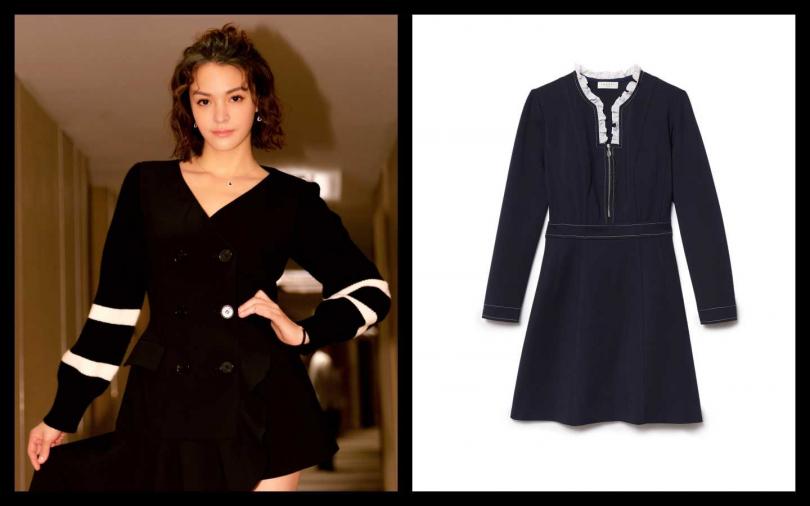 (右)編輯推薦相似款:Sandro 領口拼接黑色洋裝/10,440元。(圖/品牌提供)